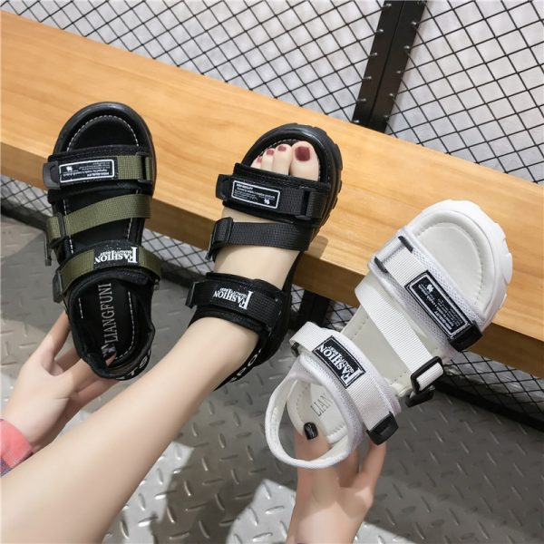Thick Platform Sandals with Canvas Buckles 5