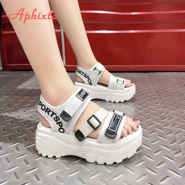 Thick Platform Sandals with Canvas Buckles 7