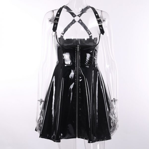 Black Leather Skirt with corset and straps 5