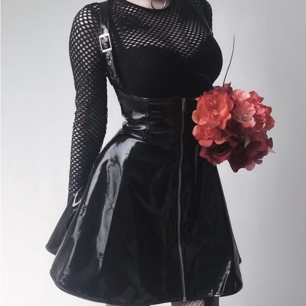 Black Leather Skirt with corset and straps 3