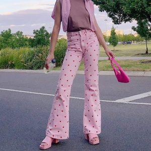 Y2K Pink Heart Printed Pants 22