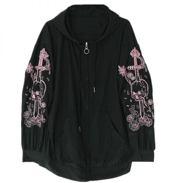 Hoodie with Gothic gothic embroidered skull 5