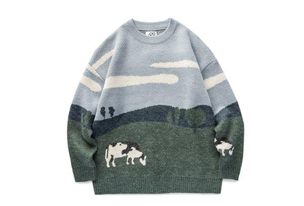 Eboy Egirl Y2K Vintage Cows print Sweaters 9
