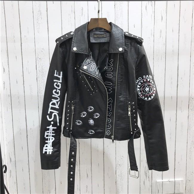 Punk Gothic Egirl Faux Soft Leather Jacket 47