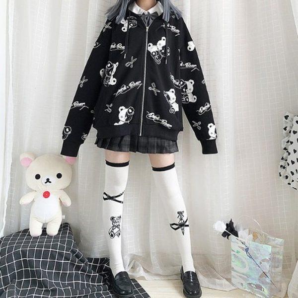 Harajuku Egirl Gothic Hoodies with bear print 4