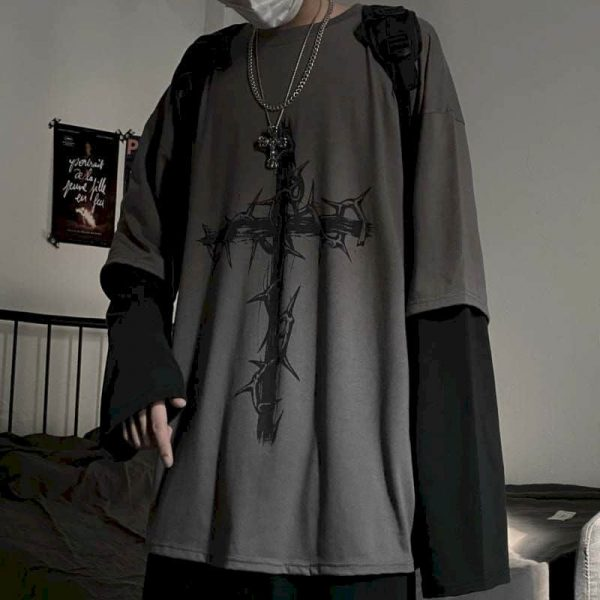 T-shirt Cross of Thorns with fake two-piece long-sleeves 1
