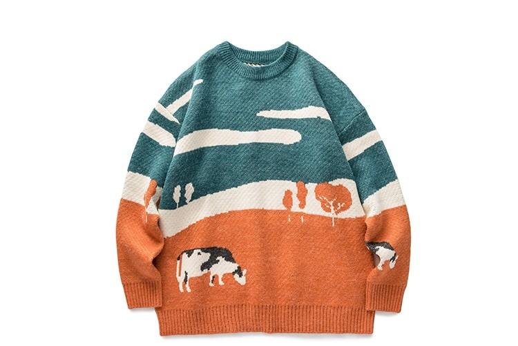 Eboy Egirl Y2K Vintage Cows print Sweaters 43