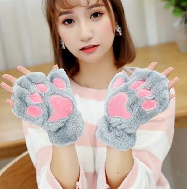 Plush Cat Paw Fingerless Mittens 3