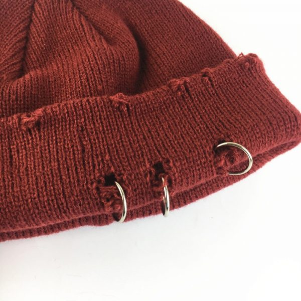 Harajuku Grunge Winter Knitted Hat with Holes, rings and pins  6
