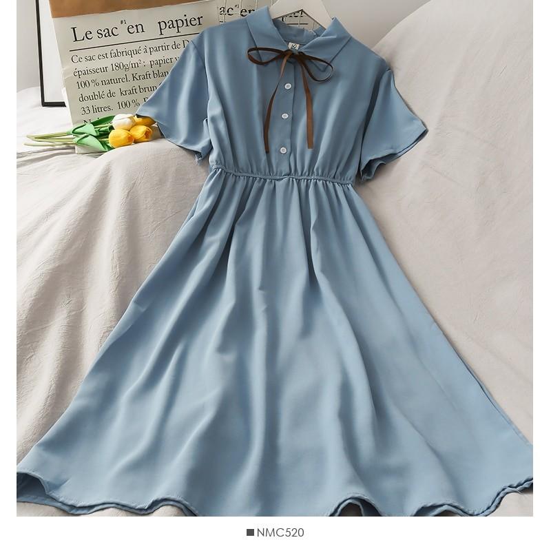 Harajuku Soft girl Chiffon  Dress with Bow 48