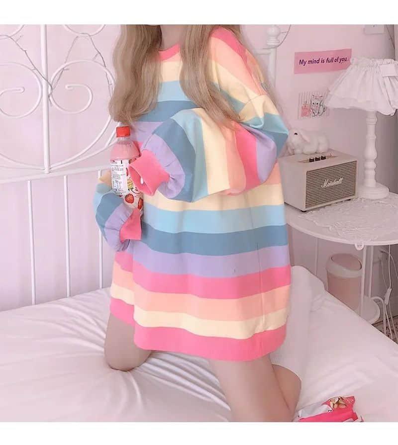 Soft Girl Harajuku Rainbow Striped T-shirt 46