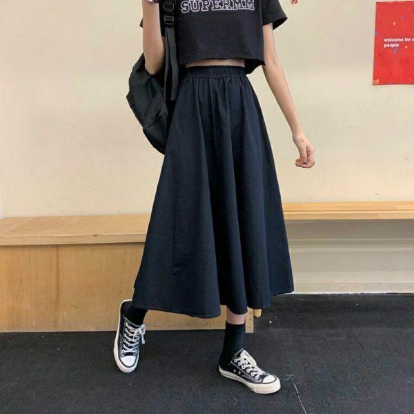 Harajuku Long Skirts A-line with elastic band 2