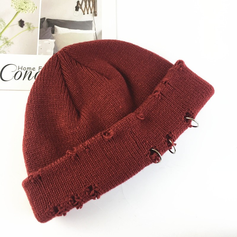 Harajuku Grunge Winter Knitted Hat with Holes, rings and pins 49