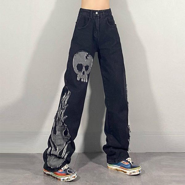 Egirl Harajuku Goth Jeans with skull and flame decor 1