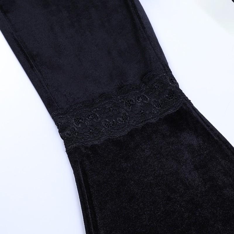 Egirl Gothic Aesthetic Flared Velvet Pants with Lace 51