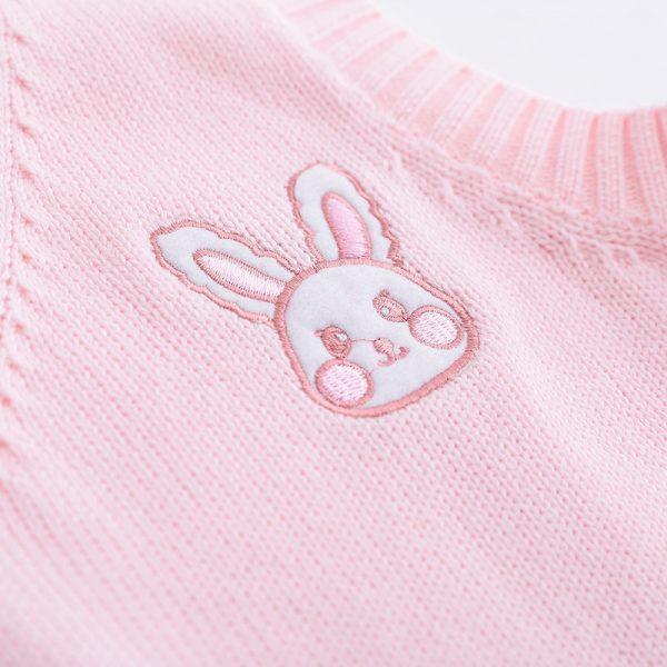 Egirl Soft girl Harajuku Pink vest with Small rabbit Embroidery 4