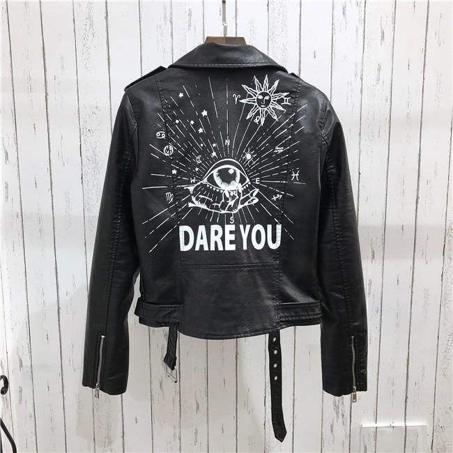 Punk Gothic Egirl Faux Soft Leather Jacket 51