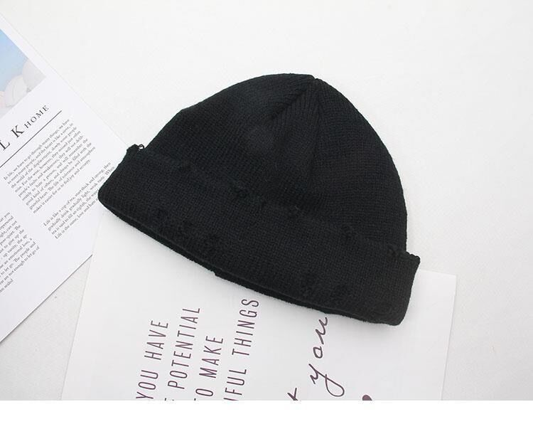 Harajuku Grunge Winter Knitted Hat with Holes, rings and pins 59
