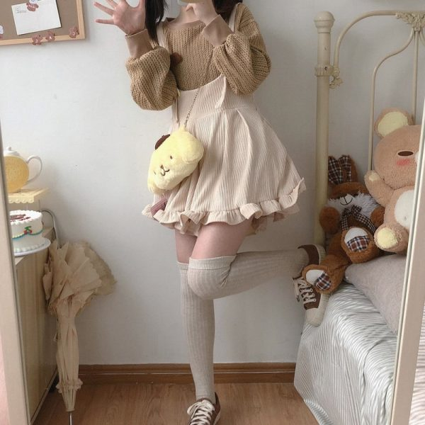 Egirl Soft girl Loose Solid Corduroy Playsuitswith Ruffles 5