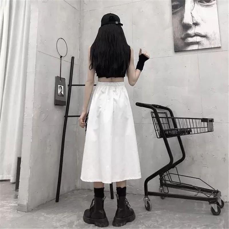 Harajuku Punk High Waist Loose A-line Cargo Skirts with chain 57