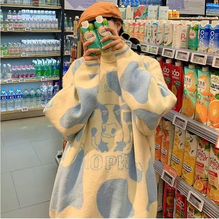 Egirl Harajuku pullover with a cow print 54