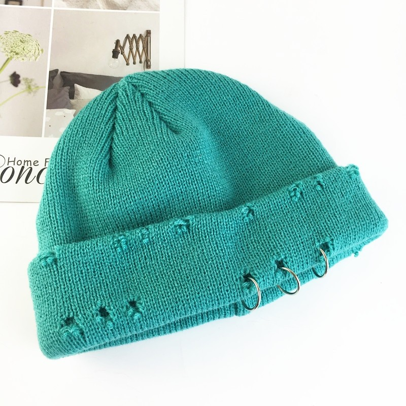 Harajuku Grunge Winter Knitted Hat with Holes, rings and pins 44