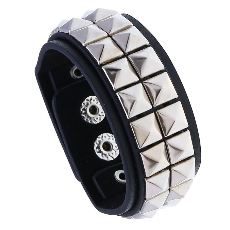Egirl Eboy Punk Leather Wristband with Metal Rivets 42