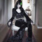 Egirl Gothic Aesthetic Flared Velvet  Pants with Lace 1