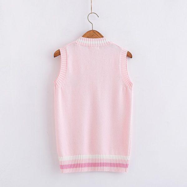 Egirl Soft girl Harajuku Pink vest with Small rabbit Embroidery 2