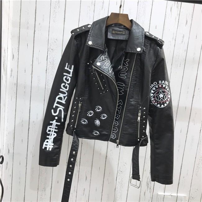 Punk Gothic Egirl Faux Soft Leather Jacket 48