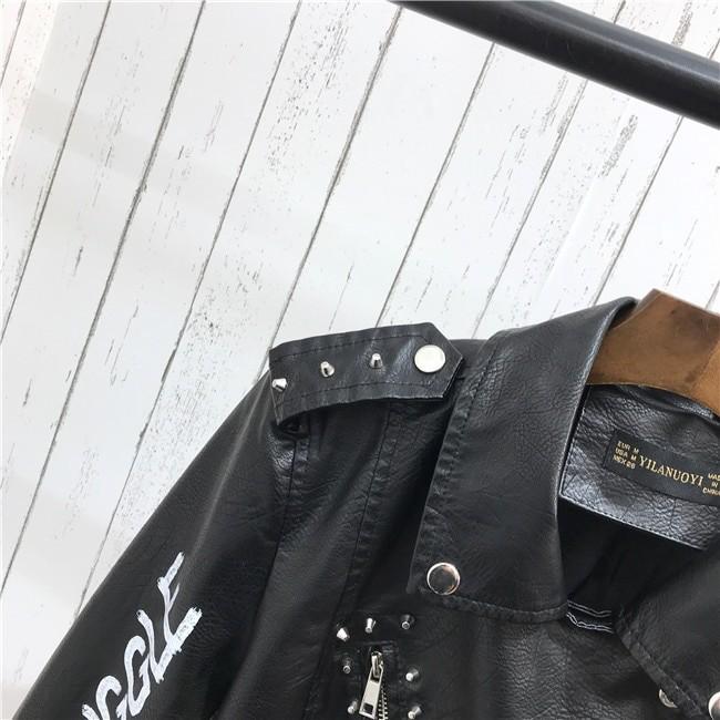Punk Gothic Egirl Faux Soft Leather Jacket 43