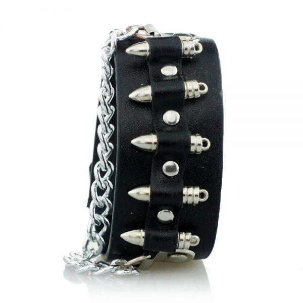 Eboy Egirl Gothic Punk  Leather Bracelet with Bullet Shape decor and Chain 1
