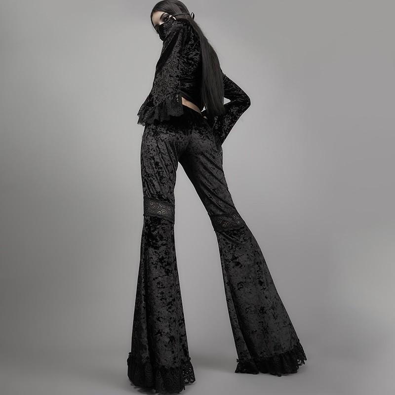 Egirl Gothic Aesthetic Flared Velvet Pants with Lace 42