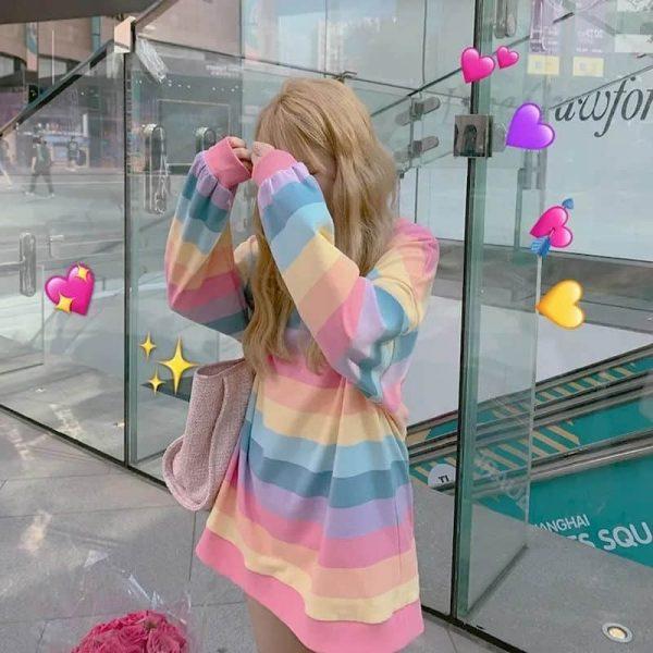 Soft Girl Harajuku Rainbow Striped T-shirt 5