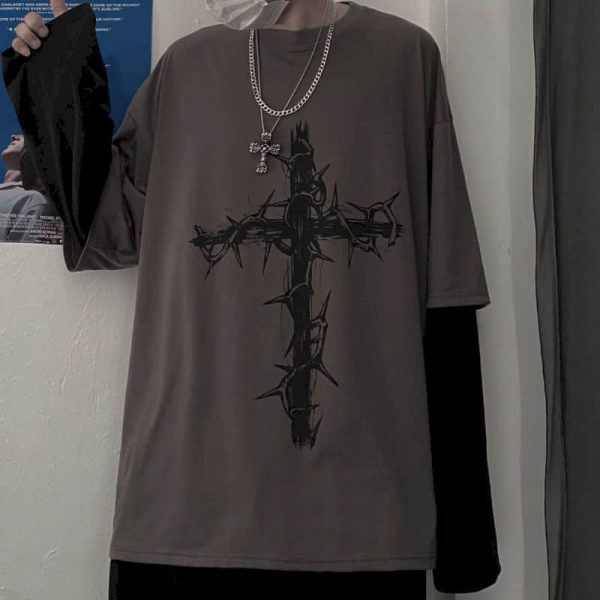 T-shirt Cross of Thorns with fake two-piece long-sleeves 4