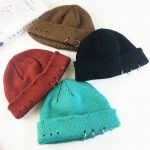Harajuku Grunge Winter Knitted Hat with Holes, rings and pins  1