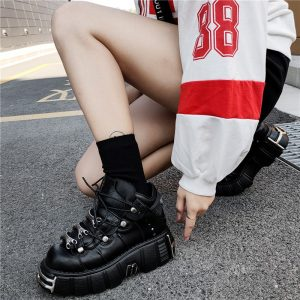 Punk Style Women Sneakers with Metal Decor 5