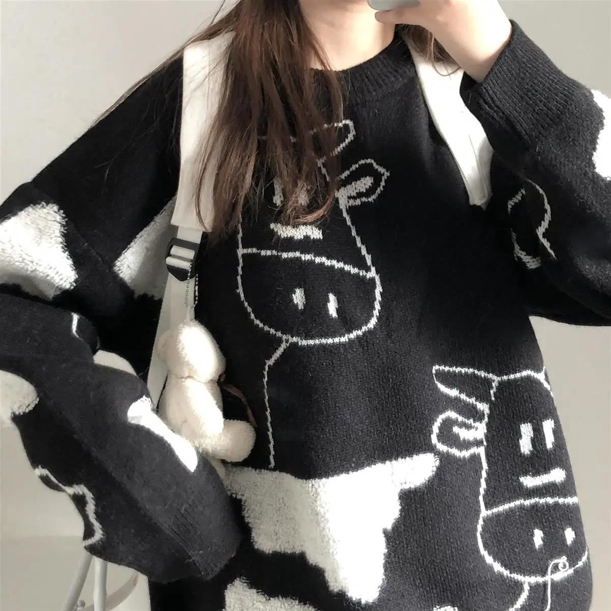 Egirl Harajuku pullover with a cow print 50