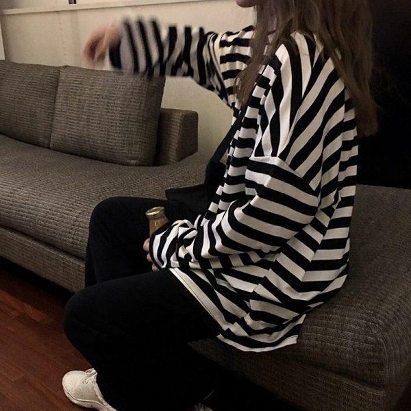 Egirl Harajuku Oversized Striped T-shirt 4