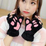 Plush Cat Paw Fingerless Mittens 1