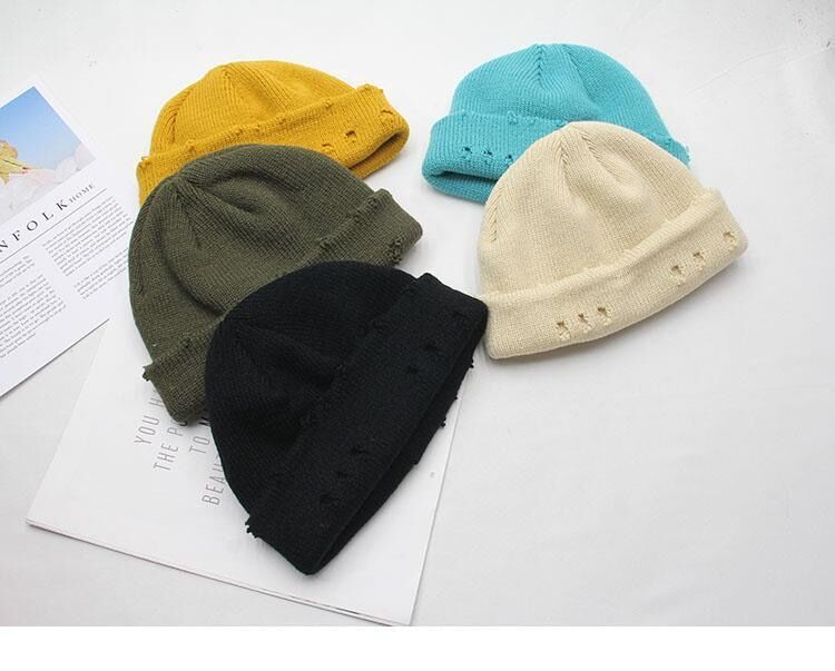 Harajuku Grunge Winter Knitted Hat with Holes, rings and pins 52