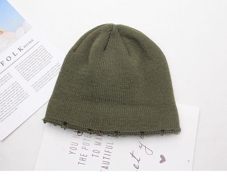 Harajuku Grunge Winter Knitted Hat with Holes, rings and pins 57