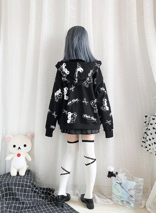 Harajuku Egirl Gothic Hoodies with bear print 42
