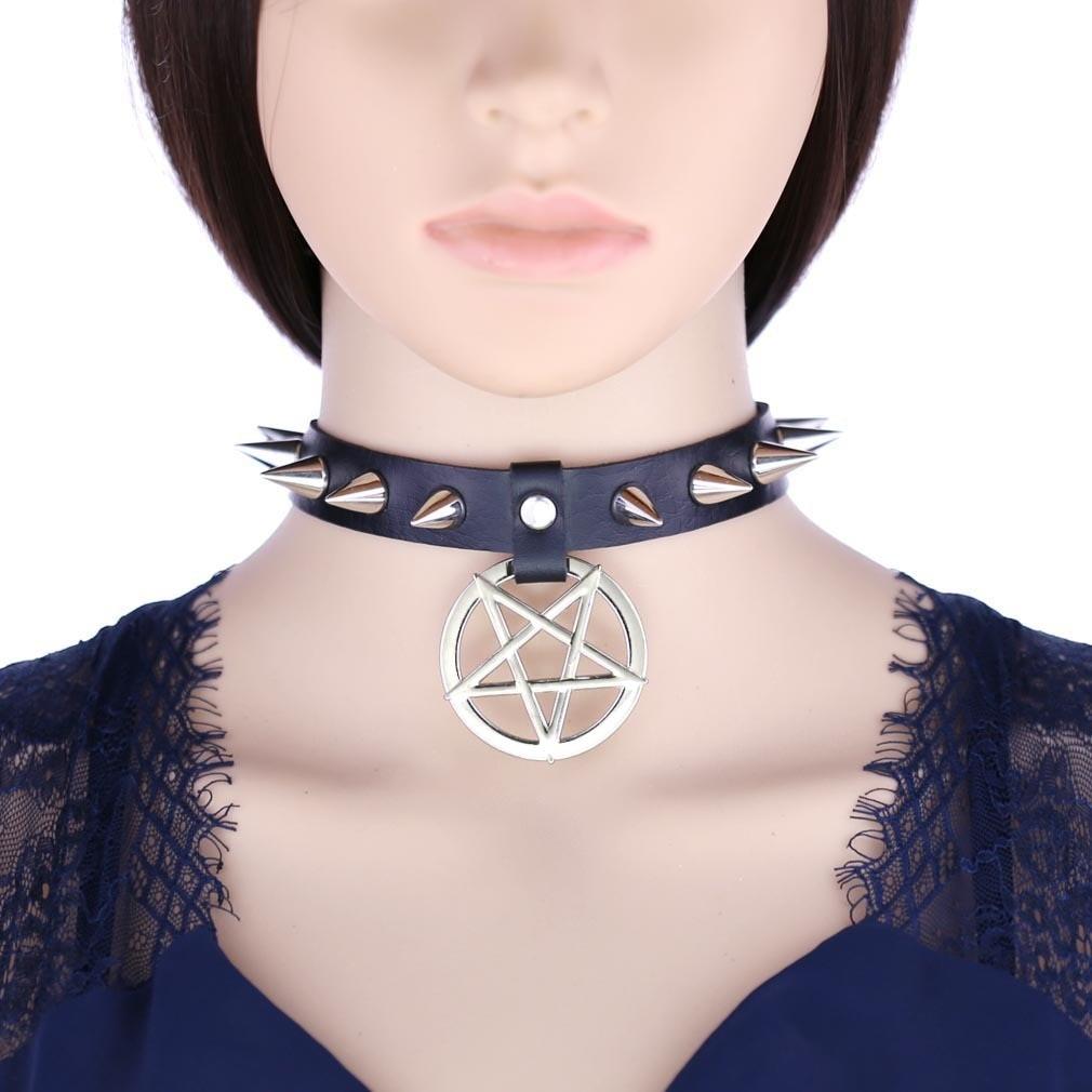 Egirl Eboy Gothic Punk Spike Choker with Pentagram pendant 42