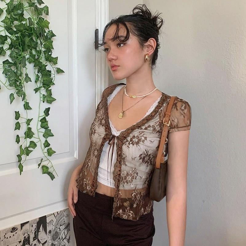Soft girl Y2K Lace Crop Top 52