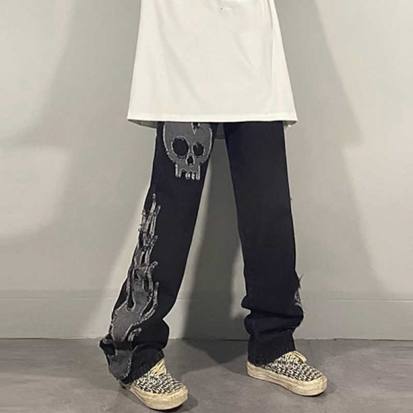 Egirl Harajuku Goth Jeans with skull and flame decor 11