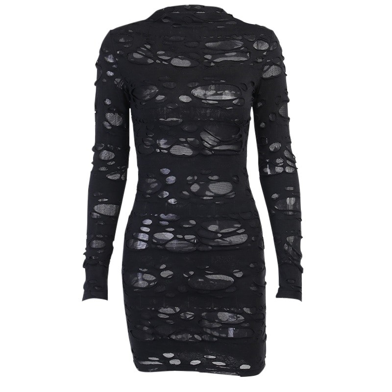 Egirl Gothiс Punk Mini Dress with holes 52