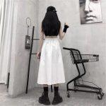 Harajuku Punk High Waist Loose A-line Cargo Skirts with chain 3