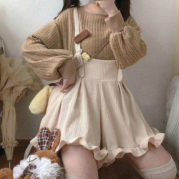 Egirl Soft girl Loose Solid Corduroy Playsuitswith Ruffles 2