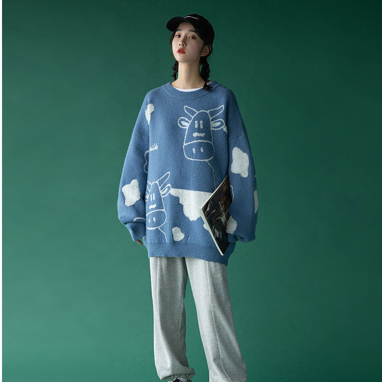 Egirl Harajuku pullover with a cow print 51